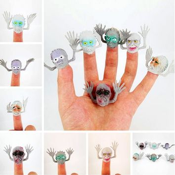 6 pcs/lot Novel plastic finger puppet Halloween terror Ghost story Mini funny toys with small finger Gashapon toys GYH