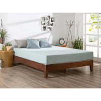Queen size Modern Low Profile Solid Wood Platform Bed Frame in Espresso