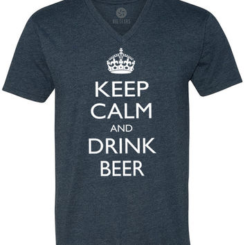 Keep Calm and Drink Beer (White) Short-Sleeve V-Neck T-Shirt