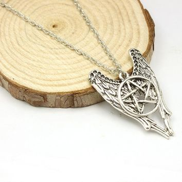 Free Shipping For 1 Pcs Movie Jewelry Supernatural Supernature Pendant Necklace Pentagram Amulet Multilayer Wing Star Necklace