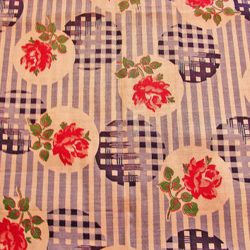 "1940s Vintage Fabric Blue Stripe Pink Roses Floral Fabric 35"" wide Cotton Sewing Fabric"