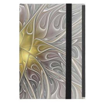 Flourish With Gold Modern Abstract Fractal Flower Covers For iPad Mini