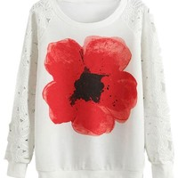 Chic Lace Paneled Floral Pattern Sweatshirt - OASAP.com