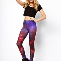ASOS Leggings In Photographic Star Galaxy Print at asos.com