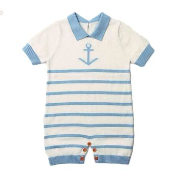Newborn baby clothes Striped Navy Sailor summer baby Knitted rompers Short  sleeve one-pieces jumpsuit b5db3e91485f