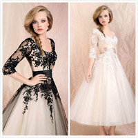 Sexy Black Cocktail Dress Party Formal Evening Ball Prom Dresses Wedding Gown