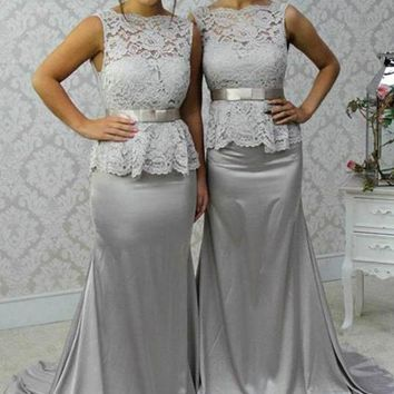 Cecelle 2016 Formal Silver Coral Mermaid Lace Bridesmaid Dresses Train Sleeveless Women Wedding Party Dresses Custom Made New