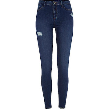 Dark blue Molly ripped skinny fit jeggings - jeggings - jeans - women