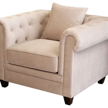 Gwen Tufted Velvet Club Chair, Beige, Club Chairs