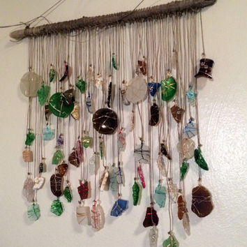 Sea Glass Sun Catcher Driftwood Mobile Upcycled Eco Friendly Beach Decor Lake Erie Beach Glass Sea Pottery Milk Glass Seaglass Art