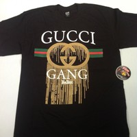 Gucci Gang Black Shirt S-5XL One Deep Clothing Screen-Printed Piranha Records