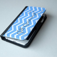 Chevron Wallet Monogram Phone Case, iPhone Wallet Case, iPhone 5, iPhone 6, Samsung Galaxy S4, S5, 6s Case, 6 Plus Case, 6s Plus Case
