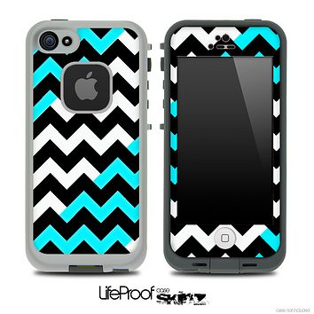 Black-White-Turquoise Chevron Pattern Skin for the iPhone 5 or 4/4s LifeProof Case