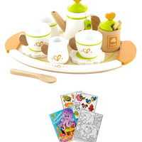 Hape E3124 Tea for Two Wooden Play Food Set with Coloring Book