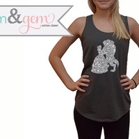 Beauty and the Beast Glitter Tank // Disney's Belle Shirt Silhouette // Disney Princess Shirt // Disney Classic Movie Shirts