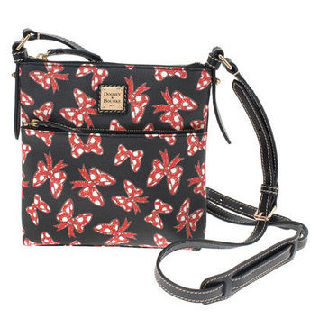 Disney Dooney & Bourke Japan Black Minnie Mouse Bows Crossbody Letter Carrier