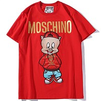 Moschino 2019 early spring limited edition hot stamping letter printing men and women round neck T-shirt top Red
