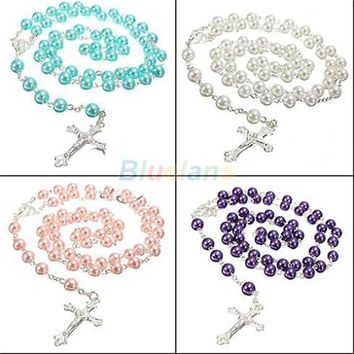Long Rosary Chain Imitate Pearl Ball Beads Pendant Necklace Silver Drop Cross 5 Colors 023Q
