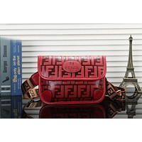 Fendi Fashionable Women Leather Chest Bag Shoulder Bag Handbag Crossbody Satchel Red