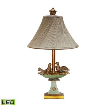 91-786-LED Love Birds In Bath 1 Light LED Table Lamp in Gold Leaf And Grantsmoth Green - Free Shipping!