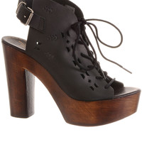 70's Style Bohemian Cut-Out Leather Platform Shoes