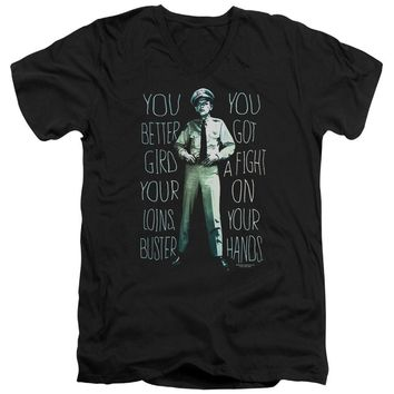 Andy Griffith Show Slim Fit V-Neck T-Shirt Fight Quote Black Tee