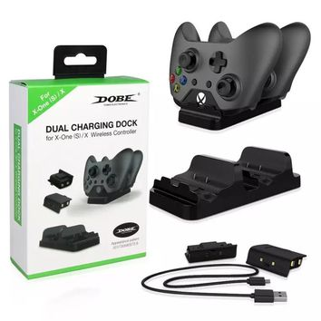 Dual Charging Dock Station Charger with 2 Rechargeable Batteries Charger for XBOX ONE, Xbox One S for Xbox one X Gamepad