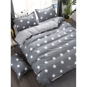 Stars & Striped Print Bedding Set