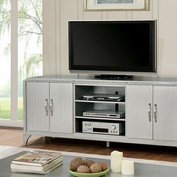 "Sade collection contemporary style silver finish wood 74"" tv console media stand"