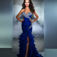 Mac Duggal Prom 2013- Electric Blue Gown With Ruffle Skirt - Unique Vintage - Cocktail, Pinup, Holiday & Prom Dresses.