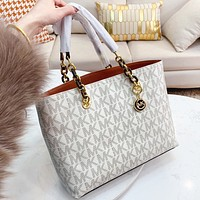 MK Michael Kors  New fashion more letter leather shopping and leisure shoulder bag handbag White