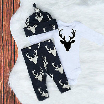 0-18M Newborn Infant Baby Girls Boy Deer Tops Bodysuit Romper+Long Pants+Hat 3pcs Outfits Toddler Kids Clothing Set