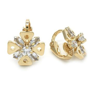 Gold Layered 02.09.0158 Leverback Earring, Flower Design, with White Cubic Zirconia, Polished Finish, Golden Tone