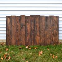Staggered Reclaimed Wood Headboard / Wall Art - Dark Walnut