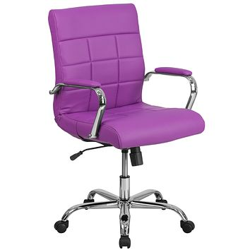Mid-Back Vinyl Executive Swivel Office Chair with Chrome Arms