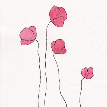 Original drawing. Minimalist flowers wall art. Red poppies illustration. Modern floral decor.