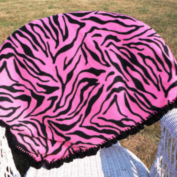 Pink Zebra Baby Blanket with Crocheted Edge by kayscrochetpatterns
