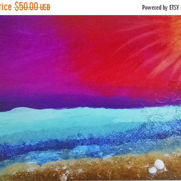 SUMMERS END SALE Sunset Canvas Print, Collage Art Print, Mixed Media Print, Print on Canvas, Beach Print, Colorful Beach Print, Ocean Art Pr