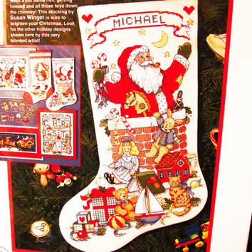 Dimensions Santa in the Chimney Cross Stitch Kit Christmas Stocking Kit unopened Susan Winget