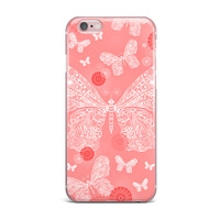 "Monika Strigel ""Butterfly Dreams Coral"" Pink White iPhone Case"