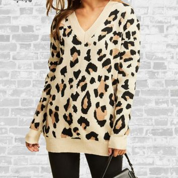Cozy V-Neck Leopard Print Sweater - Taupe