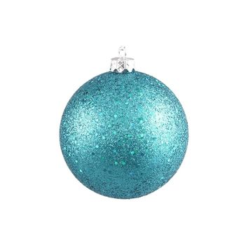 "Turquoise Blue Holographic Glitter Shatterproof Christmas Ball Ornament 4"" (100mm)"