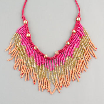 Full Tilt Seed Bead Fringe Necklace Coral One Size For Women 23451231301