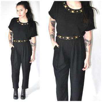 2 pc matching pant set black rayon gold embellished trousers and tshirt