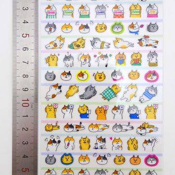Silly cat stickers - Japanese stickers - kawaii stickers - cat face stickers - small planner stickers - cat emoticon stickers - cat emoji