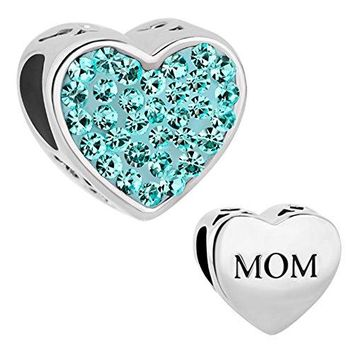 Charmed Craft Heart I Love You Charms Mother Mom Charms Birthday Crystal Charms Beads for Bracelets
