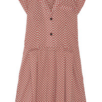 TITLE A - Townhall printed pleated cotton-twill dress