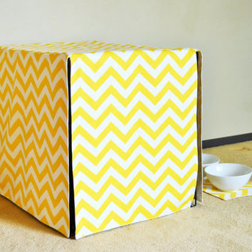 Pre-washed!  All sizes Crate Cover,  Four Sided Crate Cover with a Double Front Panel, Kennel cover in ZigZag Chevron in Yellow White