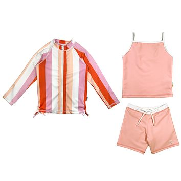 "Girl Long Sleeve Rash Guard Shorts Set with Tankini (3 Pieces) UPF 50+ | ""Peachy Stripes"""