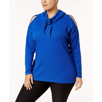 Calvin Klein Plus Size Funnel-Neck Cold-Shoulder Hoodie PF7X2734 Bold Blue 1X